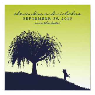 Engaged Embrace Save the Date Announcement: lime Invitation