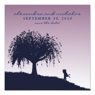 Engaged Embrace Save the Date Announcement: purple Invitation
