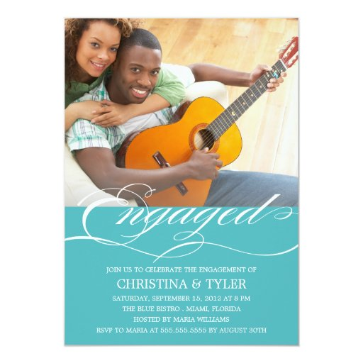 """ENGAGED!   ENGAGEMENT PARTY INVITATION 5"""" X 7"""" INVITATION CARD"""