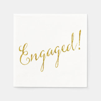 Engaged Gold Faux Glitter Metallic Sequins Paper Napkin