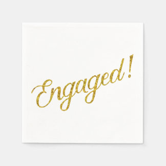 Engaged Gold Faux Glitter Metallic Sequins Quote Paper Napkin