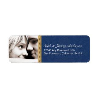 Engaged Photo Return Address Label (navy)
