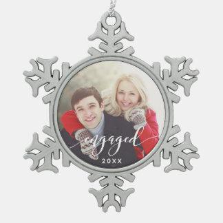 Engaged Photo Snowflake Christmas Holiday Ornament