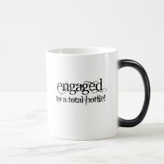 Engaged To A Total Hottie - Classy Grunge B&W Magic Mug