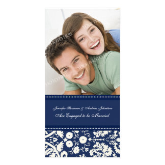 Engagement Announcement Photo Card Blue Damask