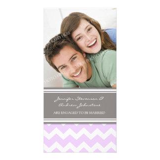 Engagement Announcement Photo Card Lilac Chevron
