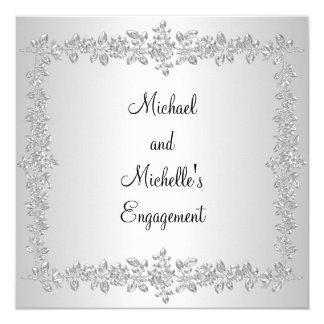 Engagement Black White Silver Metal Roses Invitation