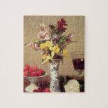"""Engagement Bouquet Jigsaw Puzzle<br><div class=""""desc"""">Image:20144  Engagement Bouquet. Fantin-Latour,  Ignace Henri Jean (1836-1904). Musee des Beaux-Arts,  Grenoble,  France,  Peter Willi.  Art,  Fine Art.</div>"""