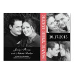 Engagement Collage Save The Date Card - Coral Personalized Invitation