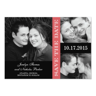 """Engagement Collage Save The Date Card - Coral 5"""" X 7"""" Invitation Card"""