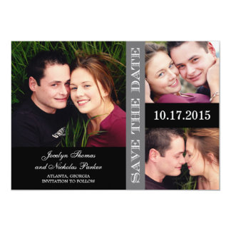 Engagement Collage Save The Date Card - Gray