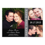 Engagement Collage Save The Date Card - Gray Announcements