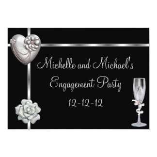 Engagement Elegant Black Silver White Flower Card