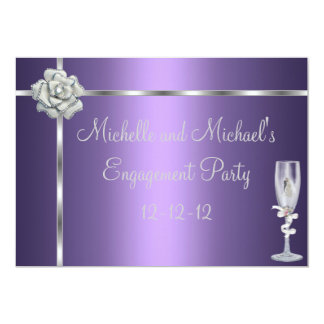 Engagement Elegant Purple Silver White Flower 5x7 Paper Invitation Card