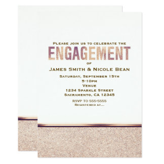 Engagement Faux Rose Gold Champagne Invitation