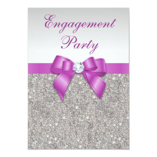Engagement Faux Silver Sequins Radiant Orchid Bow Card