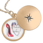 Engagement Gift Necklace, Red Corkscrew Stiletto a