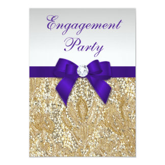 Engagement Gold Sequins Deep Royal Purple Bow Card