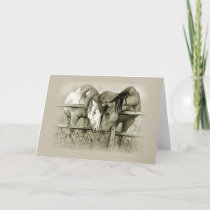 Engagement: Horse Lovers Share Pasture, Pencil Art Card