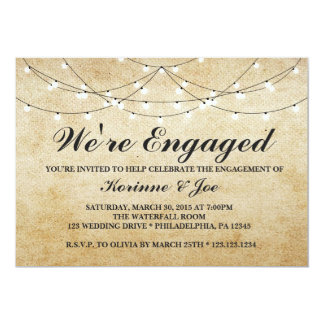 Engagement Invitation Burlap and Lights