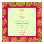 Engagement Invitation Cerise and Lime Paisley