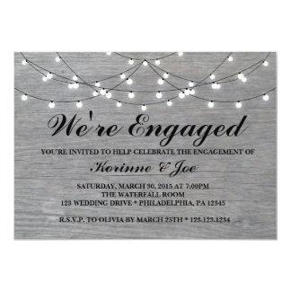 Engagement Invitation Grey Wood Floor