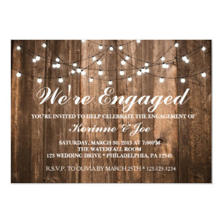 Engagement Invitation Wood and Lights