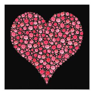 Engagement Invite Black Pink  Dream Roses Heart