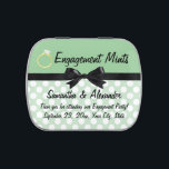 """Engagement Mints Party Favor Jelly Belly Candy Tin<br><div class=""""desc"""">&quot;Engagement mints&quot;,  a cute green and white polka dot retro styled tin box of mints that makes a great engagement party favor or save the date announcement to sent out to wedding guests,  and announce your marriage date.  Use these &quot;engagement mints&quot; for a fun gift keepsake.</div>"""