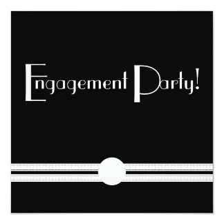 Engagement  Party Art Deco Black and White 5.25x5.25 Square Paper Invitation Card