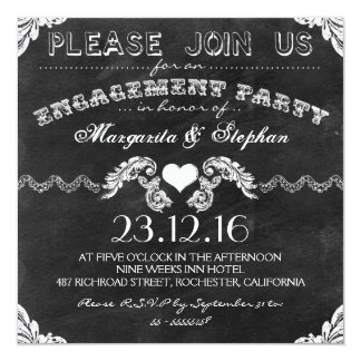 engagement party black chalkboard invitations