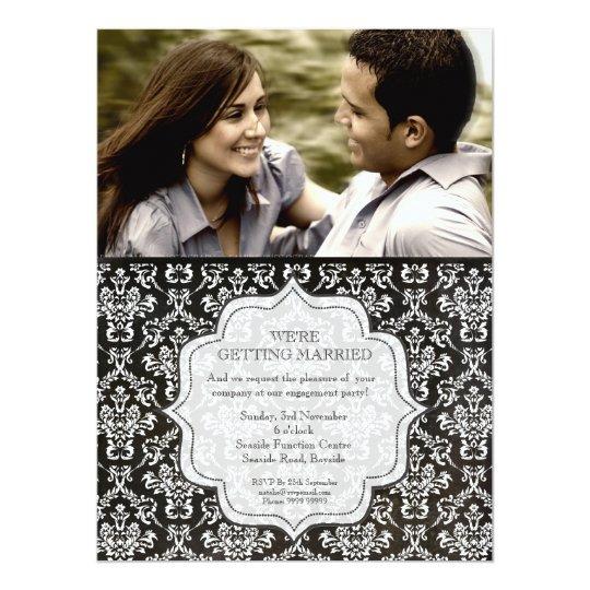 Engagement Party Black Night Damask Photo Invite