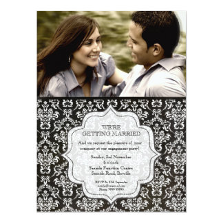 Engagement Party Black Night Damask Photo Invite