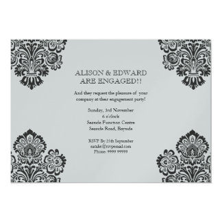 Engagement Party Black & Silver Damask Invite