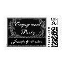 Engagement Party Black White Vintage Oval Frame Postage