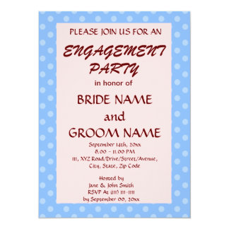 Engagement Party-Blue Polka Dots, Pink Background Card