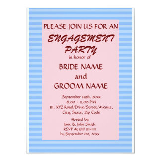 Engagement Party - Blue Stripes, Pink Background Card