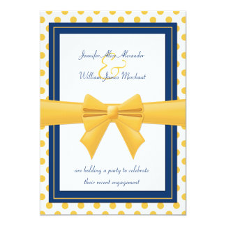 Engagement Party - Blue with Yellow Polka Dots 5x7 Paper Invitation Card