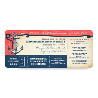 engagement party boarding pass-tickets with RSVP Card
