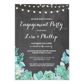 Engagement Party Chalk Shower Succulents Invite
