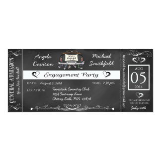 Engagement Party Chalkboard Ticket Invitation