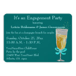 "Engagement Party Champagne Toast peach ribbon 5"" X 7"" Invitation Card"