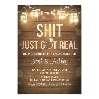 Engagement Party Couples shower Rustic Got real Invitation