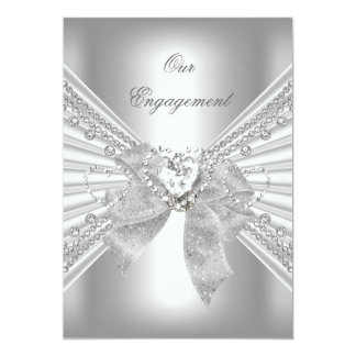 Engagement Party Diamond Heart White Silver Bow 2 Card