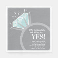 Engagement party diamond ring and fun facts napkin