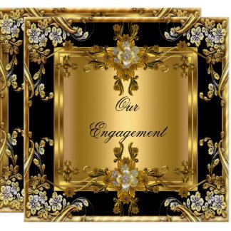 Engagement Party Elegant Gold Floral Jewel Black Card