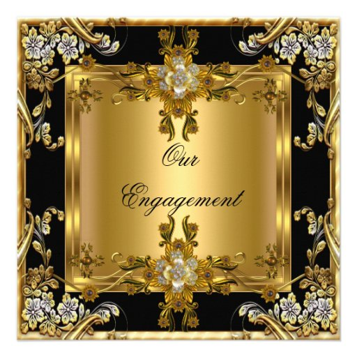 Engagement Party Elegant Gold Floral Jewel Black Invitation