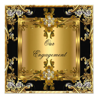 Engagement Party Elegant Gold Floral Jewel Black 5.25x5.25 Square Paper Invitation Card