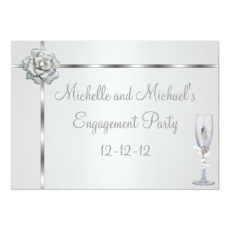 Engagement Party Elegant Silver White Flower Trim Card