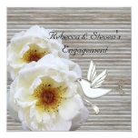 Engagement Party Elegant White Flowers Dove Personalized Invitations